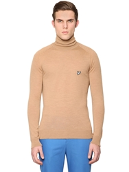 Lyleandscott For Jonathan Saunders Two Tone Merino Wool Turtleneck Sweater Camel
