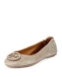Tory Burch Minnie Travel Ballet Flats With Logo Perfect Sand