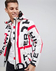 Hunter Original Packable Blouson With All Over Logo In White