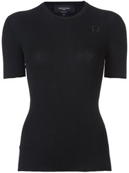 Rochas Ribbed Short Sleeve Jumper Women Wool 42 Black
