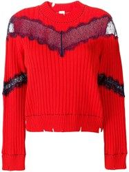 Pinko Sheer Lace Jumper Red