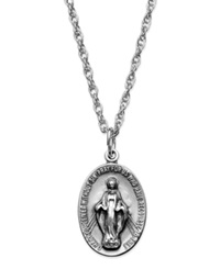 Macy's Oval Miraculous Pendant Necklace In Sterling Silver