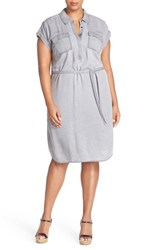 Vince Camuto Plus Size Women's Two By Faded Twill Shirtdress