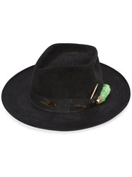 Nick Fouquet 'The Heatherton' Hat Women Silk Leather Beaver Fur Wool Felt 57 Black