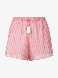 Zimmermann Roza Draw Striped Shorts Pink Red White