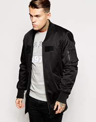 Asos Longline Bomber Jacket With Patches Black