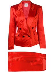 Moschino Vintage Skirt Suit Red