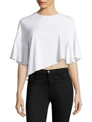 Kendall Kylie Asymmetrical Flutter Sleeve Cropped Top Bright White Black