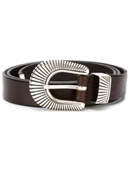 Eleventy Curved Buckle Belt Brown