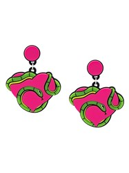 Yazbukey 'Snake Heart' Earrings Pink And Purple