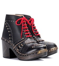 Burberry Embellished Leather Ankle Boots Black