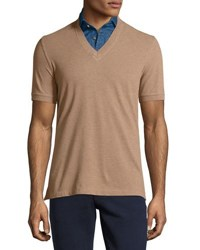 Brunello Cucinelli Denim Dickey Short Sleeve Tee Camel Denim