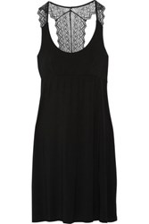 Cosabella Lace Paneled Stretch Jersey Chemise Black