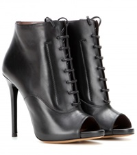 Tabitha Simmons Pace Leather Peep Toe Ankle Boots Black