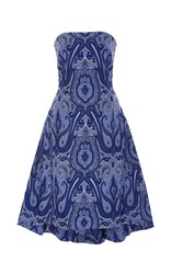 Elizabeth Kennedy Ottoman Paisley Strapless Party Dress Blue