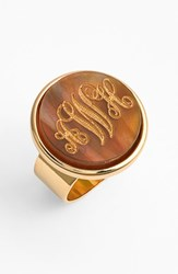 Women's Moon And Lola 'Vineyard' Personalized Monogram Ring Tigers Eye