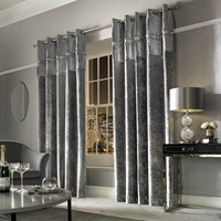 Kylie Minogue At Home Veda Lined Eyelet Curtains Silver