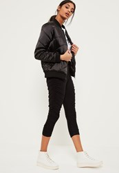 Missguided Black Ruched Side Jersey Crop Leggings