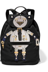Prada Robot Large Appliqued Shell And Leather Backpack Black