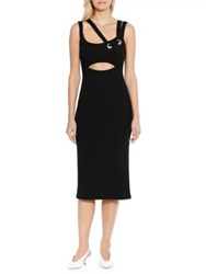 Walter Baker Erik Asymmetrical Strap Midi Dress Black