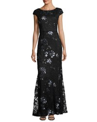 Vera Wang Sequin Embroidered Lace Cap Sleeve Gown Black Blue