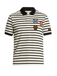 Alexander Mcqueen Applique Short Sleeved Polo Shirt Black White