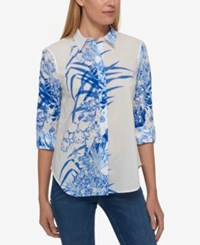 Tommy Hilfiger Cotton Printed Roll Tab Shirt Only At Macy's Periwinkle Multi