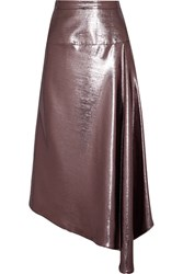 Roland Mouret Piper Asymmetric Draped Lame Midi Skirt Purple