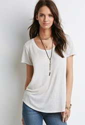 Forever 21 Boxy Wide Neck Tee Light Heather Grey