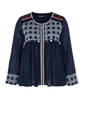 Hallhuber Ethnic Jacket With Decorative Coins Blue