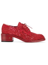 Laurence Dacade Jeanne Floral Lace Brogues Red