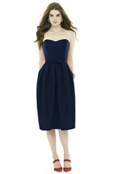 Women's Alfred Sung Strapless Peau De Soie Midi Dress With Bow Belt