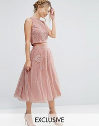 Lace And Beads Tulle Skirt With Floral Embellishment Co Ord Dusty Pink