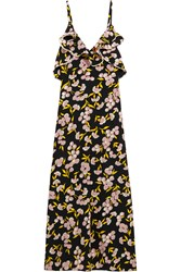 Marni Ruffled Floral Print Silk Satin Maxi Dress Black Antique Rose