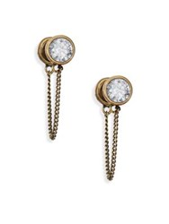 Marc Jacobs Sparkle Chain Crystal Cabochon Stud Earrings Brass