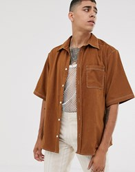 Heart And Dagger Oversized Boxy Cord Shirt In Camel Beige