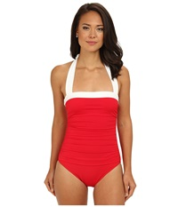 Lauren Ralph Lauren Bel Aire Shirred Bandeau Mio Slimming Fit One Piece Cherry Red Women's Swimsuits One Piece