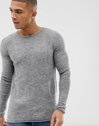 Selected Homme Knitted Crew Neck Jumper Grey