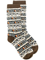 Ganni Knitted Pattern Socks Brown