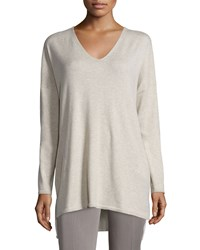 Eileen Fisher V Neck Organic Cotton Tunic With Pockets Petite Women's Maple Oat