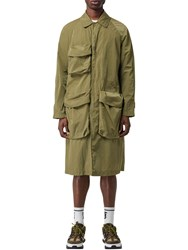 Burberry Thoresby Tech Trench Coat Light Green