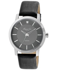 Kenneth Cole New York Watch Men's Diamond Accent Black Leather Strap 44Mm Kc1986