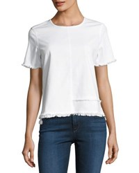 Ag Jeans Tawny Raw Edge Short Sleeve Tee White
