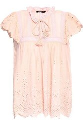 Love Sam Woman Broderie Anglaise Voile Top Pastel Pink