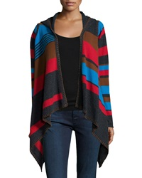 Neiman Marcus Cashmere Collection Hooded Striped Cashmere Cardigan