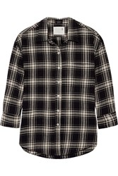 R 13 Plaid Cotton Shirt Black
