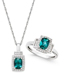 Macy's Lab Created Emerald 1 3 8 Ct. T.W. And White Sapphire 5 8 Ct. T.W. Pendant Necklace And Matching Ring Set In Sterling Silver