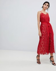 Little Mistress All Over Lace Midaxi Cami Dress Red
