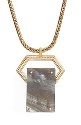 Women's Rachel Zoe Jewel Rivet Pendant Necklace Gold Smoke Resin Horn