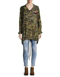 Highline Collective Embrodiery Detailed Camo Jacket Green
